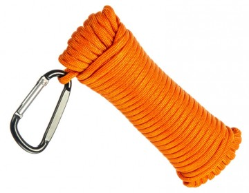 15 meter, 5mm paracord tau, Orange m/karabinkrok